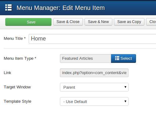 Menu Item Type and Link of a menu item